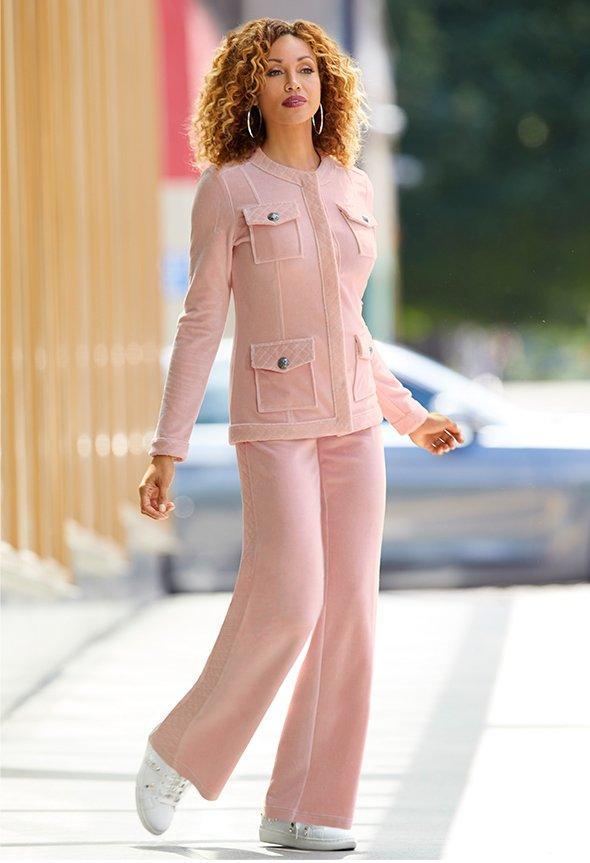 model wearing blush warm up
