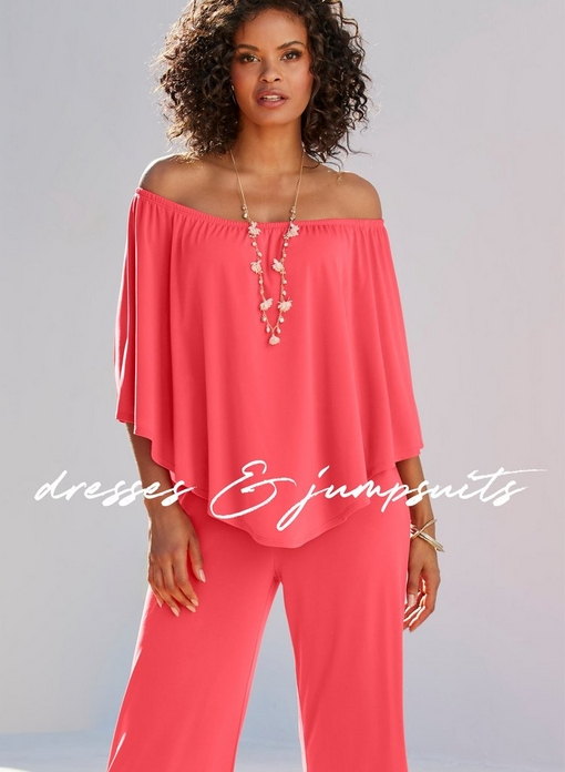 model wearing an off-the-shoulder coral jumpsuit and long chain necklace.