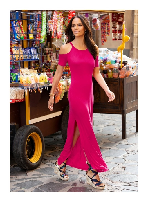model wearing a cold-shoulder short sleeve t-shirt maxi dress in pink and scarf print wedges.
