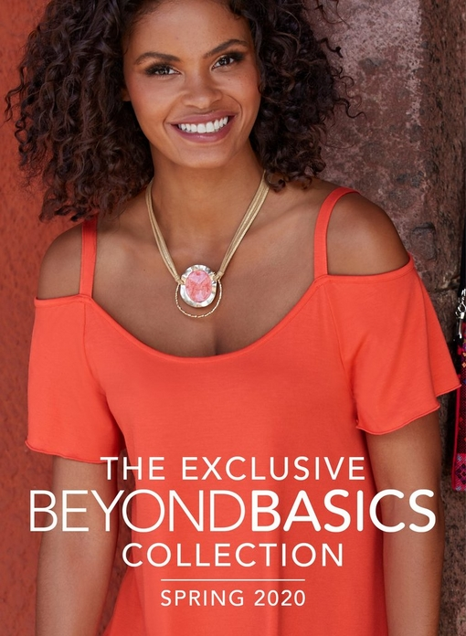 cover of book. model wearing a coral cold-shoulder short sleeve top and pink necklace.