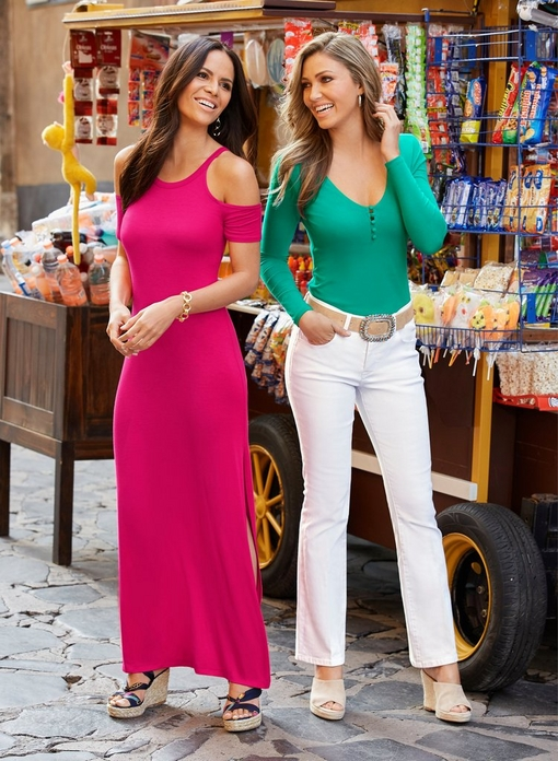 left model wearing a cold-shoulder short sleeve maxi dress. right model wearing a turquoise covered-button long-sleeve top, jeweled belt, white jeans, and white slip-on wedges.