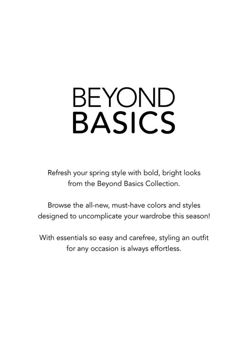 white page with black text introducing the beyond basics collection