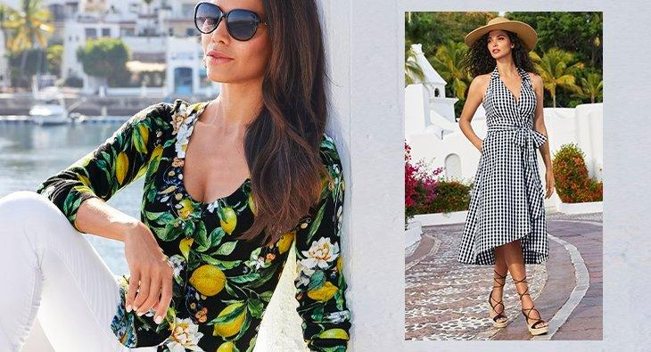 left model wearing a lemon printed button up cardigan, white pants, and sunglasses. right model wearing a black and white gingham halter midi dress, lace up wedges, and a straw hat.