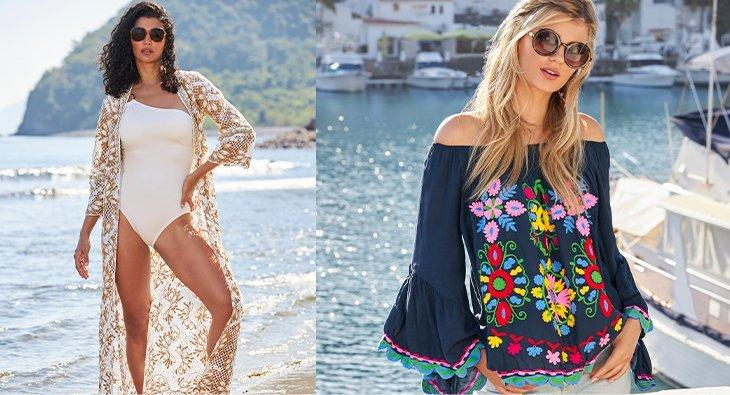 left model wearing a white one-shoulder one-piece swimsuit and a white and gold lace duster. right model wearing a navy off-the-shoulder flare-sleeve embroidered top and sunglasses.