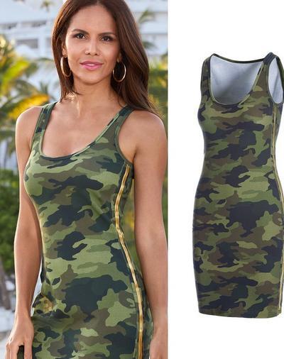 model wearing a camo sleeveless racer stripe sport dress.