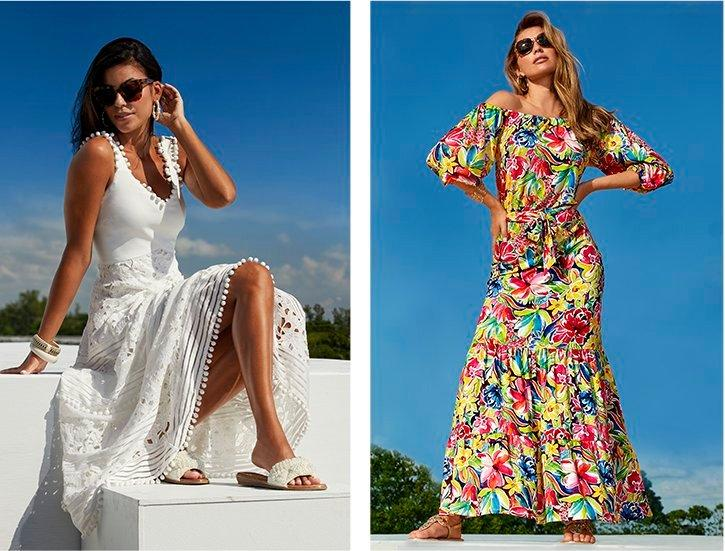 left model wearing a white mixed lace and pom-pom embellished sleeveless maxi dress, sunglasses, and pearl embellished slide sandals. right model wearing a multicolored floral off-the-shoulder tie-waist maxi dress, crystal sandals, and sunglasses.