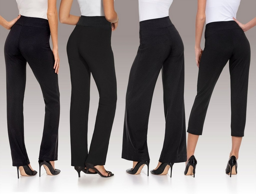 waist down shot of models wearing four different black travel pants: the original travel pant, the high-rise, the palazzo, and the crop.