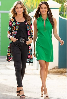 left model wearing a multicolored crochet cardigan, black tank top, black jeans, black belt, and multicolored wedges. right model wearing a green quarter zip collared sleeveless dress.