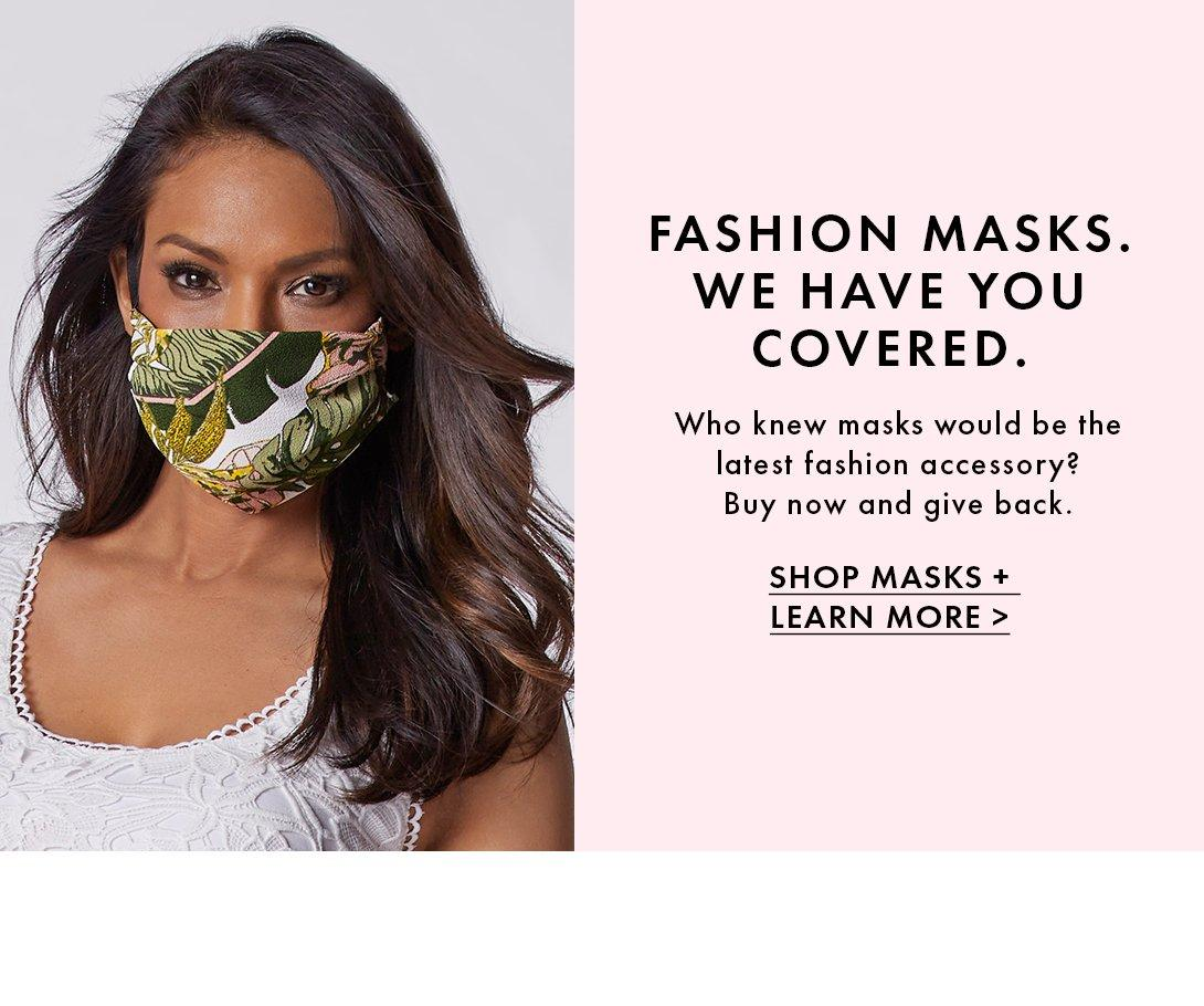 model wearing a jungle print face mask.