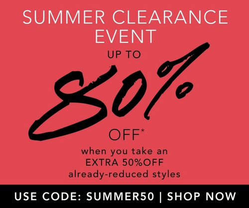 up to 80% off when you take an extra 50% off already reduced styles