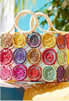 multicolored crochet structured bag.