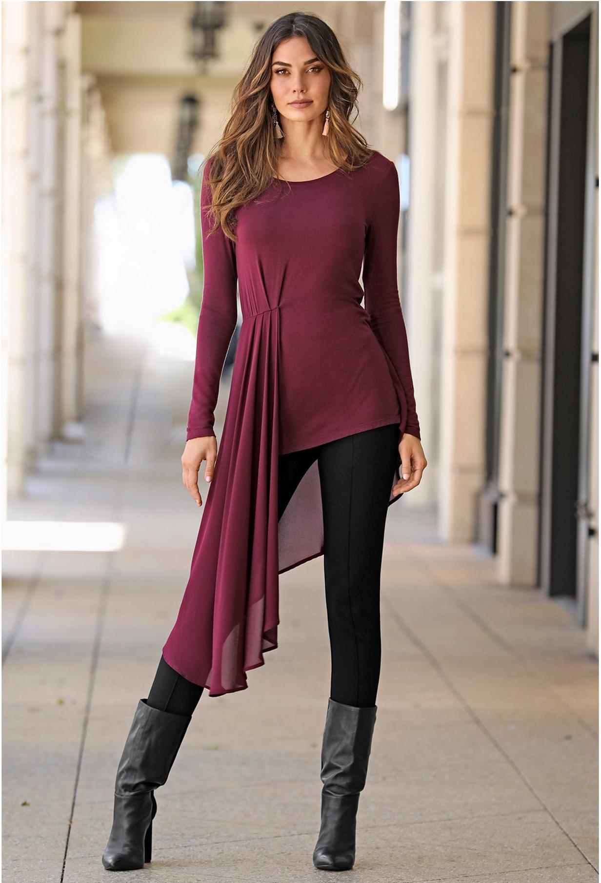 maroon chiffon layover top with leggings and boots