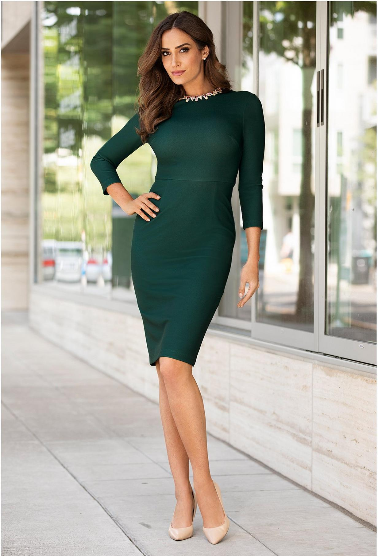 emerald green dress with jeweled neckline