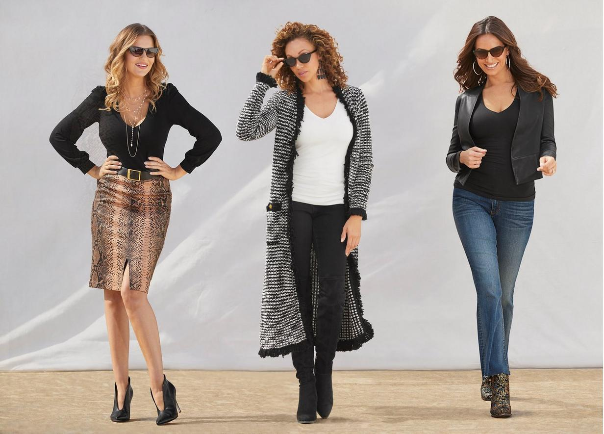 different v-neck tops over skirts, leggings, and jeans
