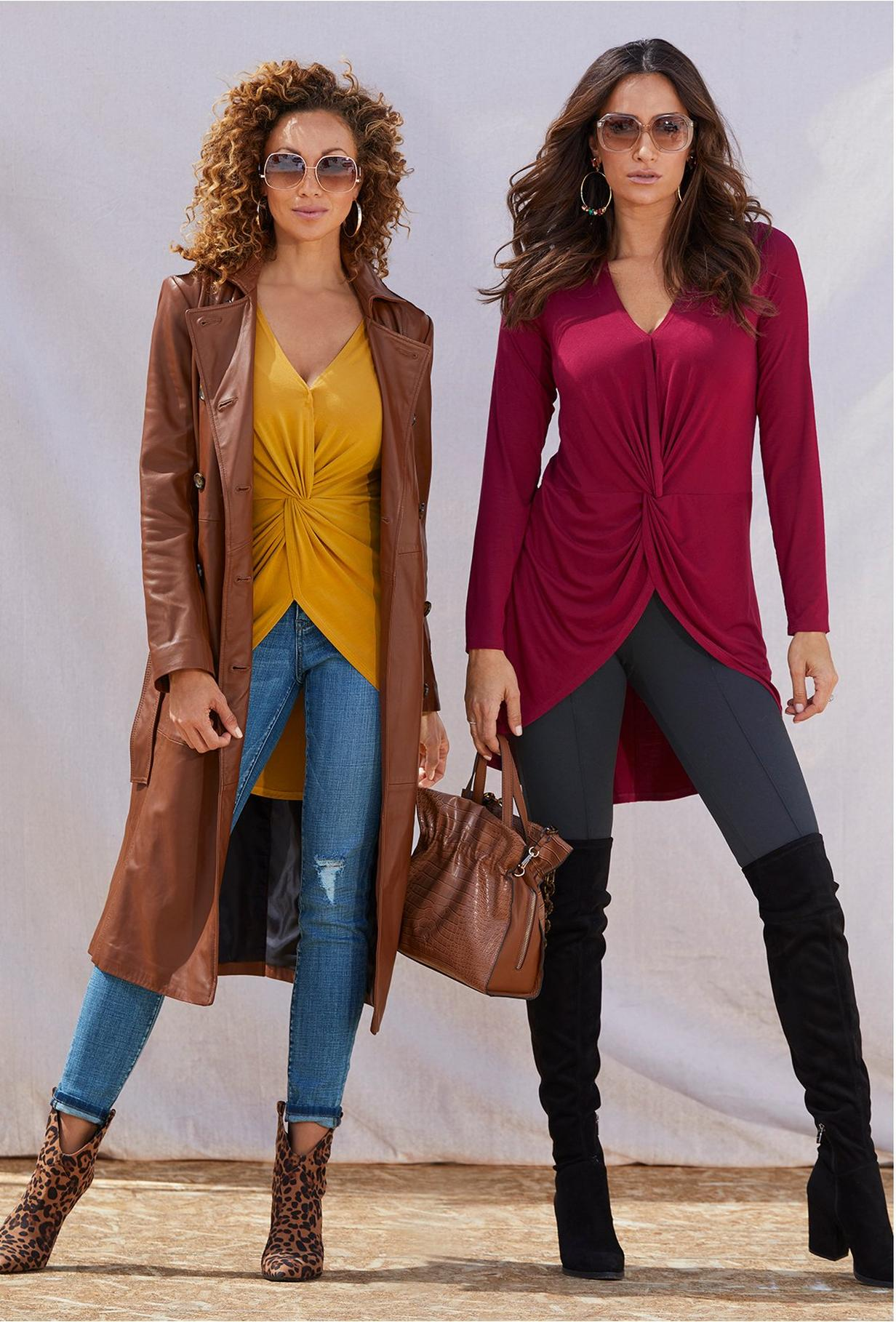 twist front top with leather trench coat