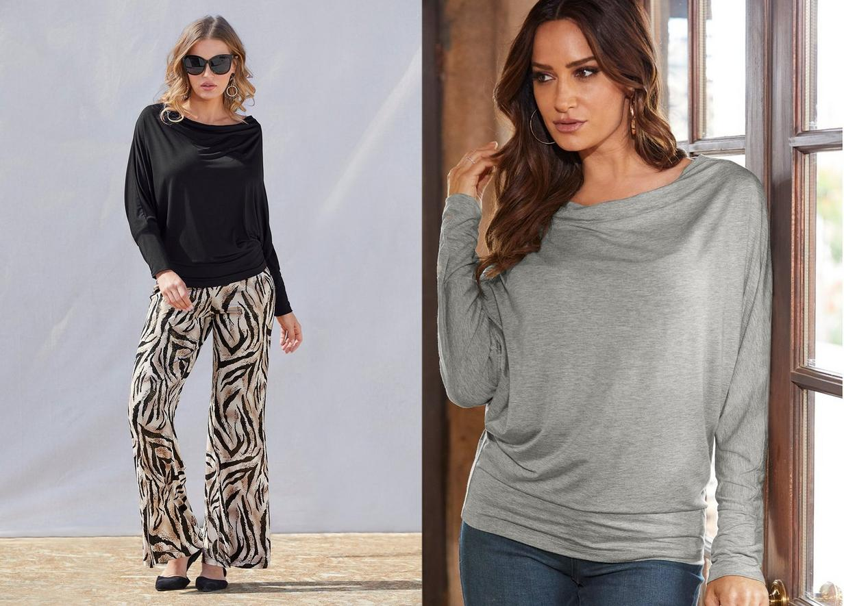 left: black top over printed palazzo pants. right: gray draped top