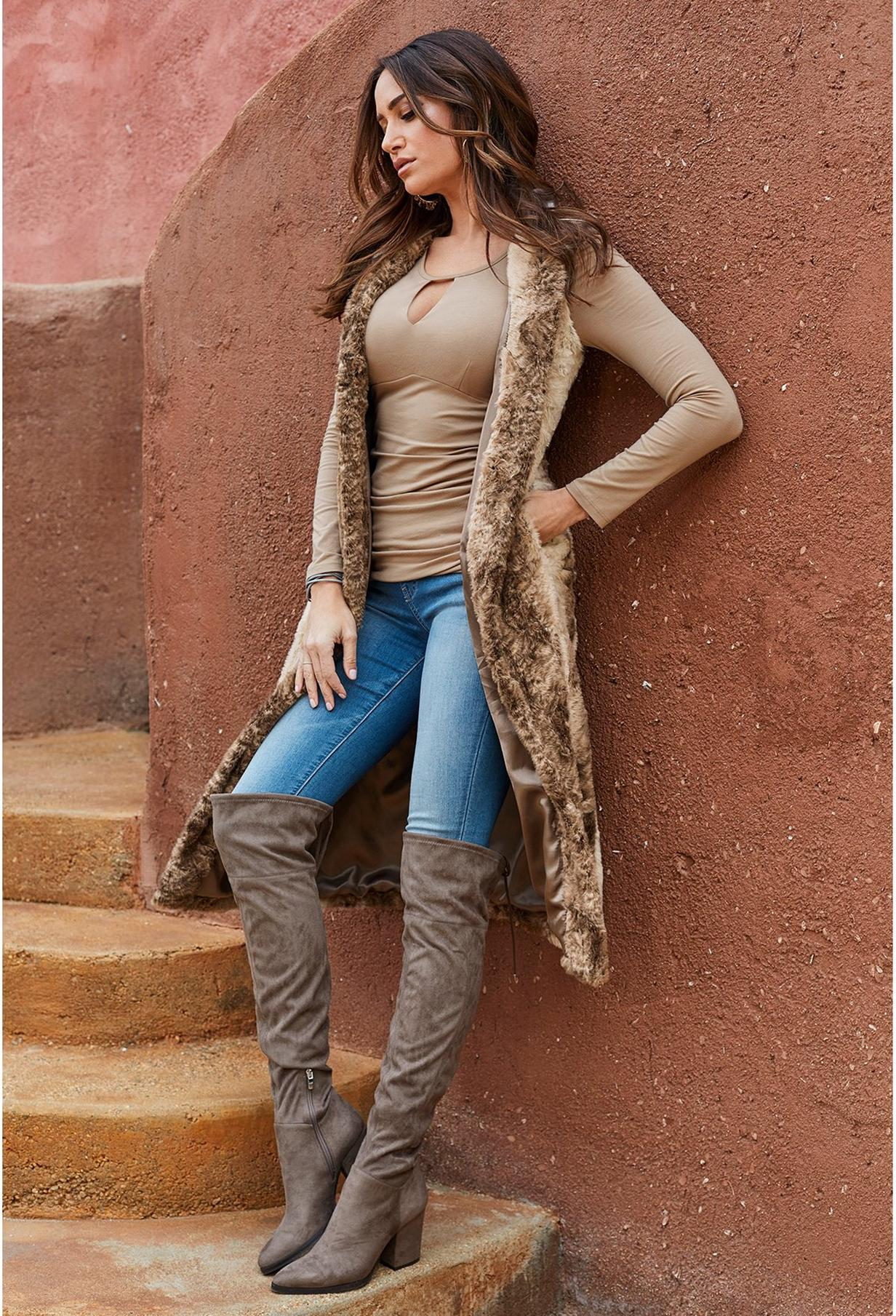 canyon chic look with faux fur vest