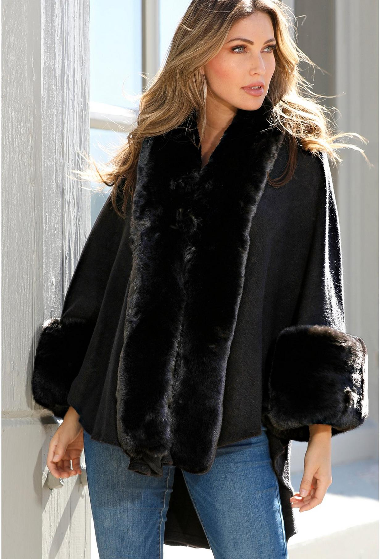 black poncho with faux fur accents