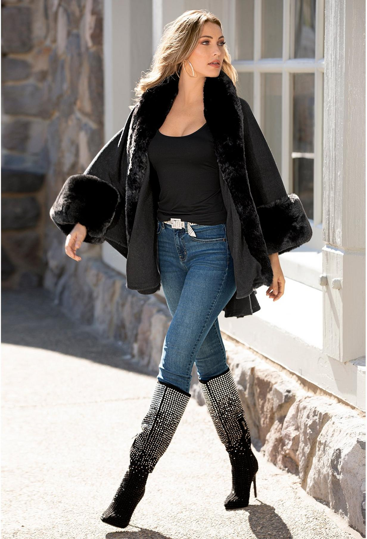 faux fur black poncho with ombre embellished boots