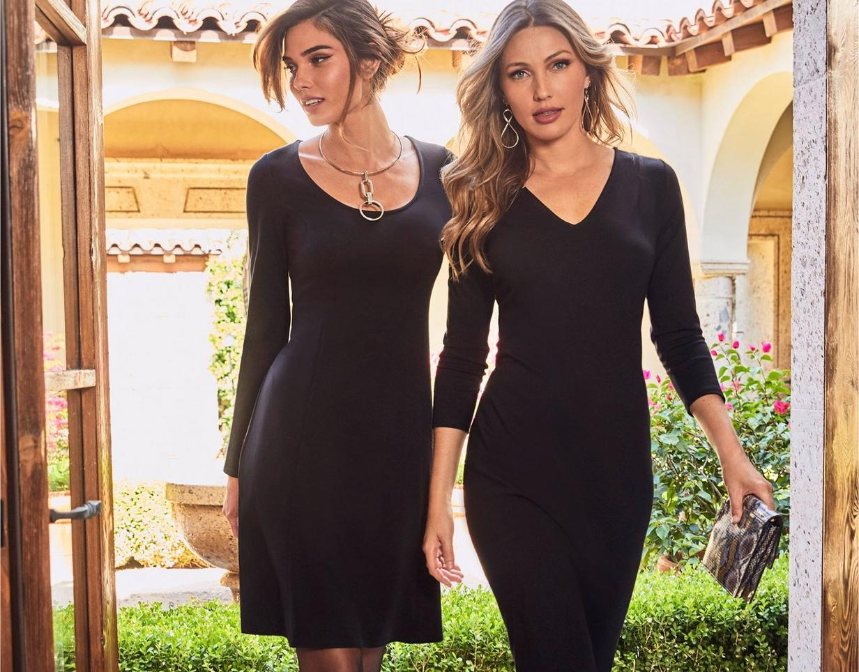 black ponte dress on the left, black top and black ponte pants on the right