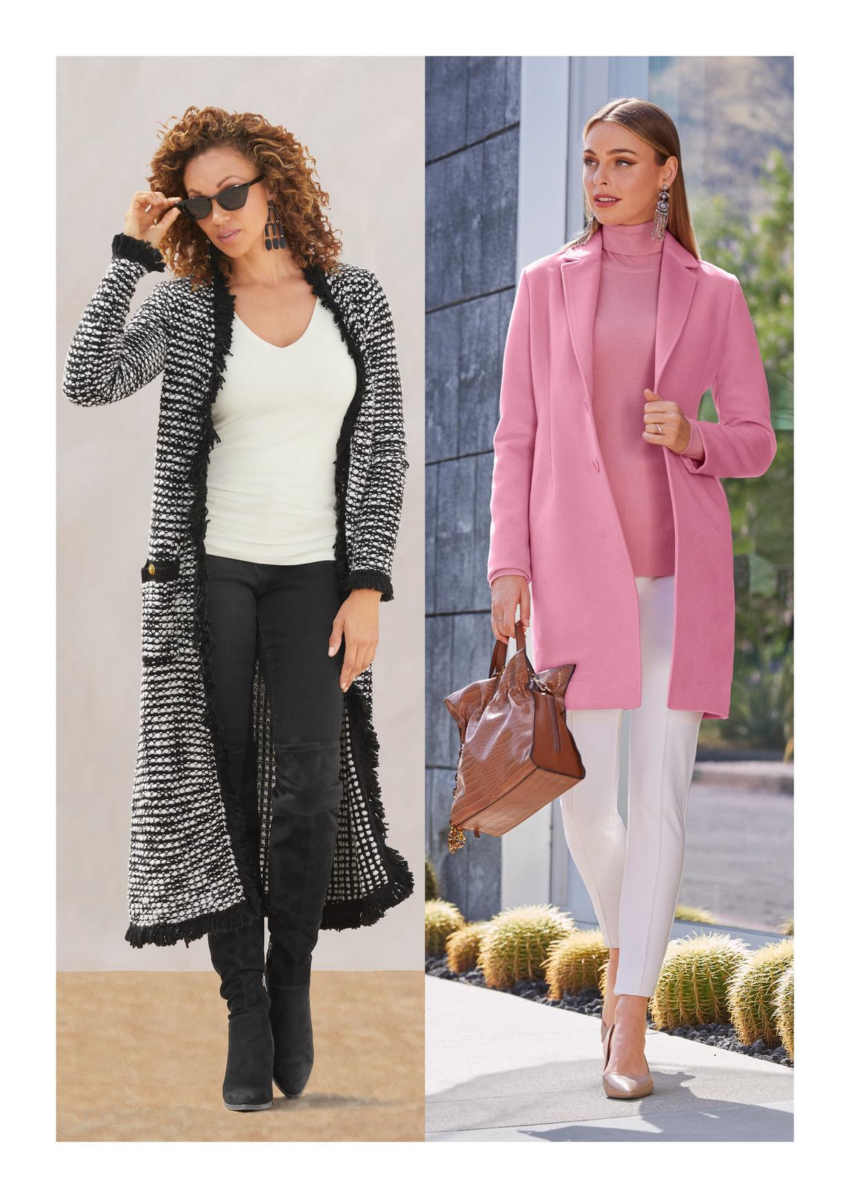 black and white cardigan and pink wool coat