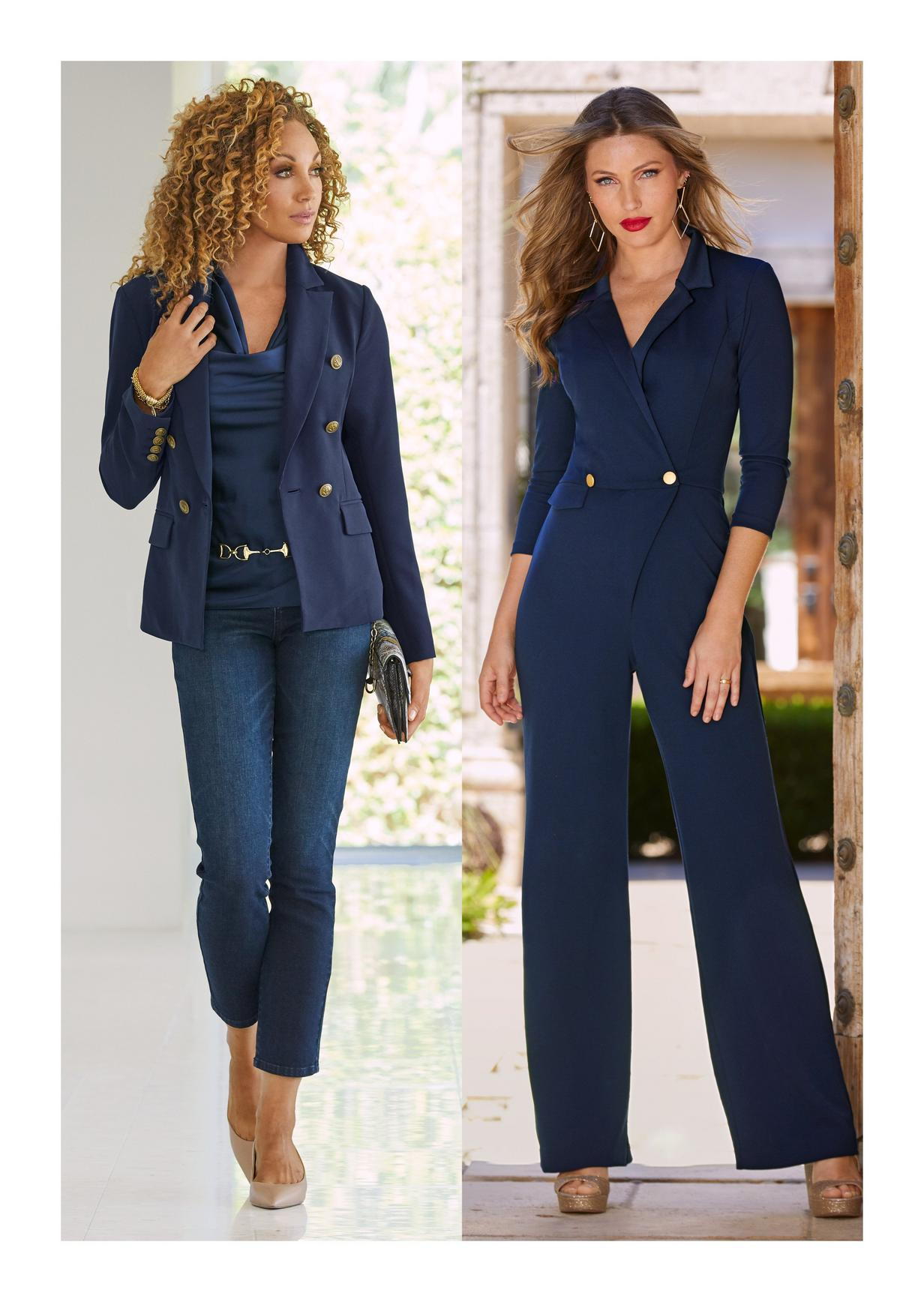 left: navy blue blazer over tank top and jeans. Right: navy blue jumpsuit