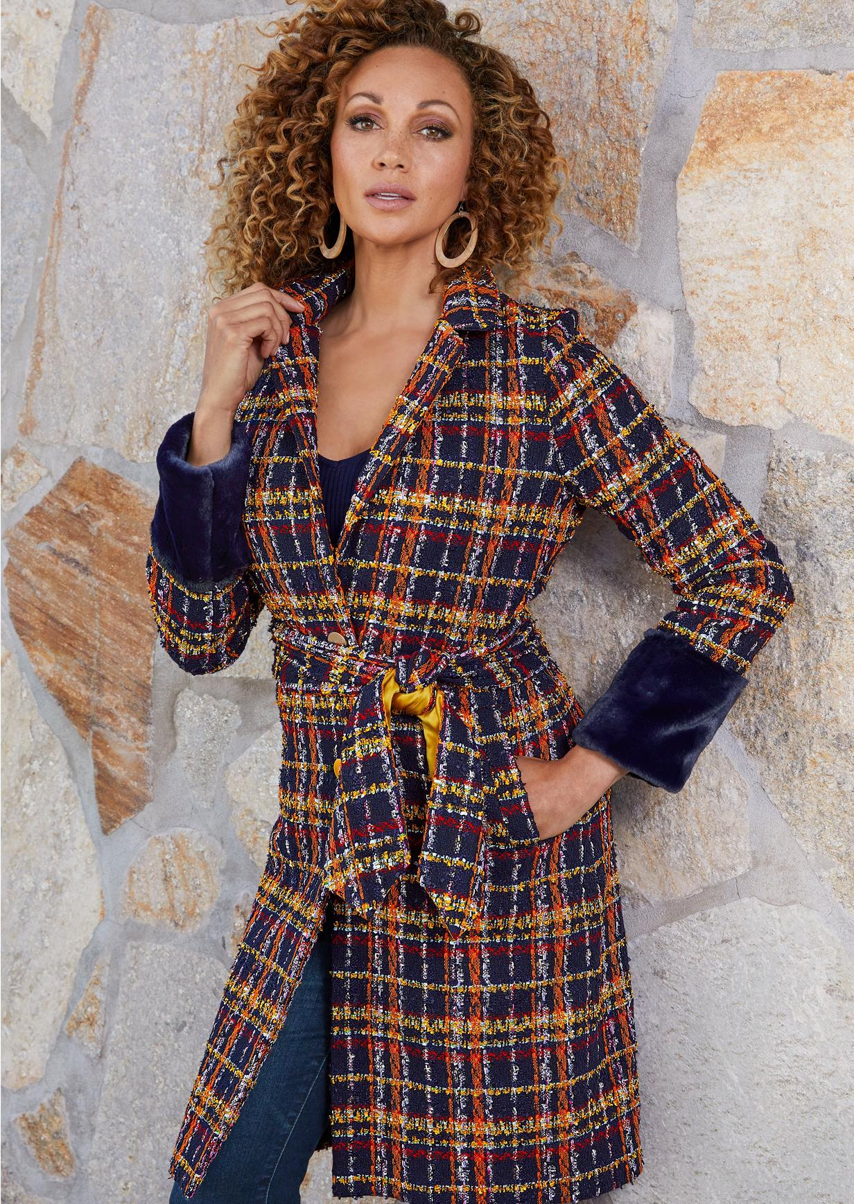 plaid trench coat with faux fur cuffs