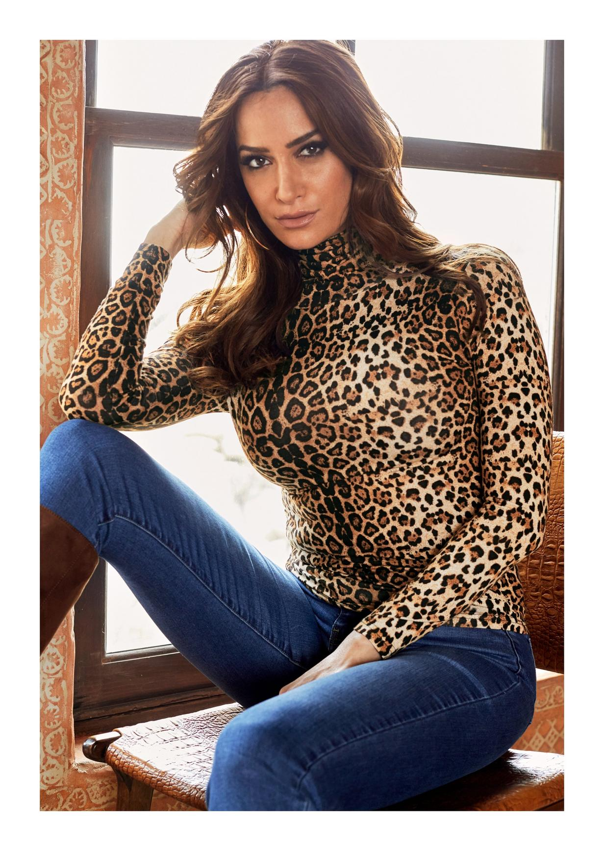 turtleneck leopard long sleeve top with jeans