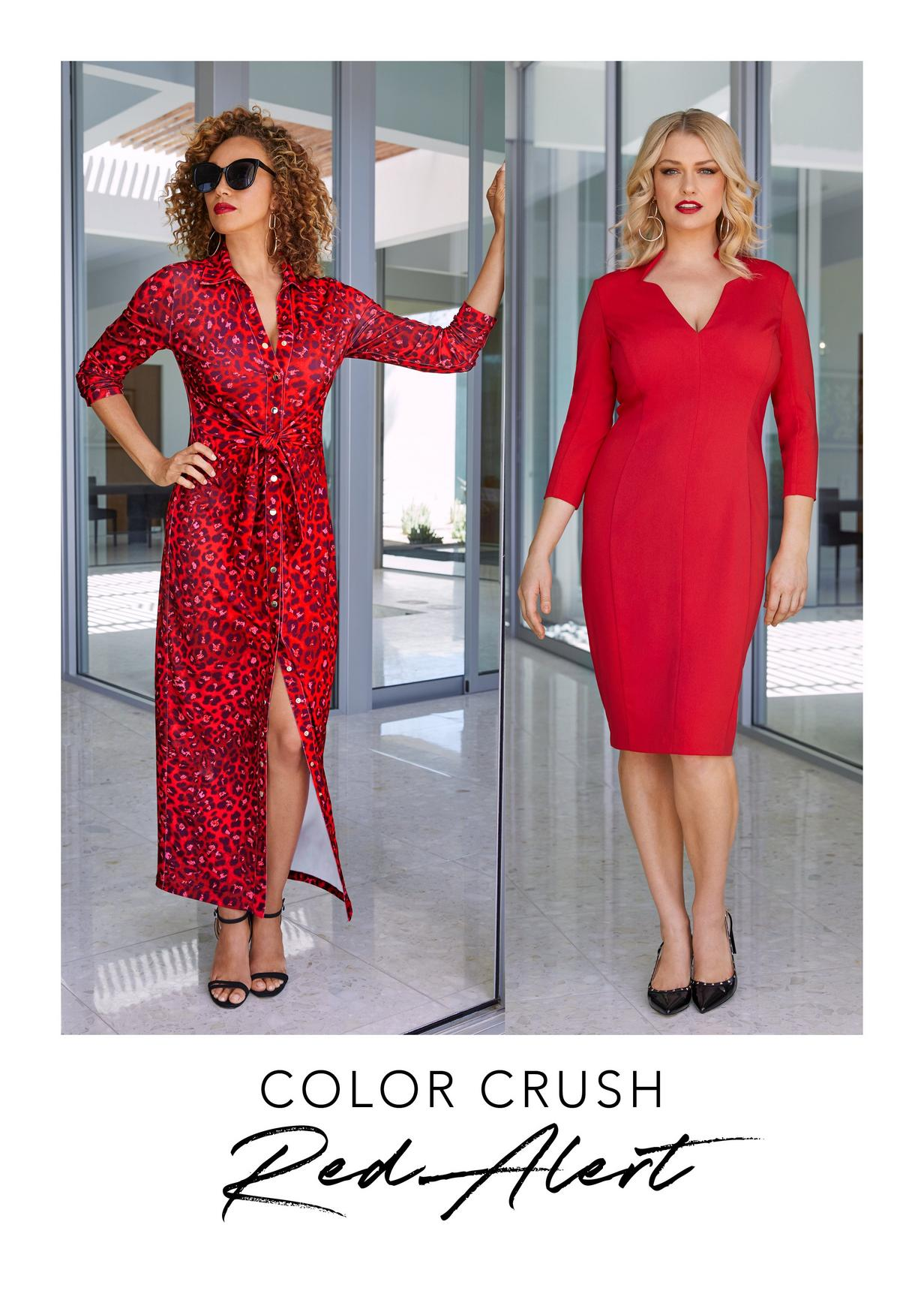 read leopard wrap dress and red v-neck dress
