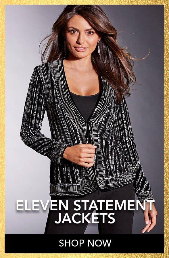 model wearing a black statement jacket with allover sequins, black tank top, and black pants.