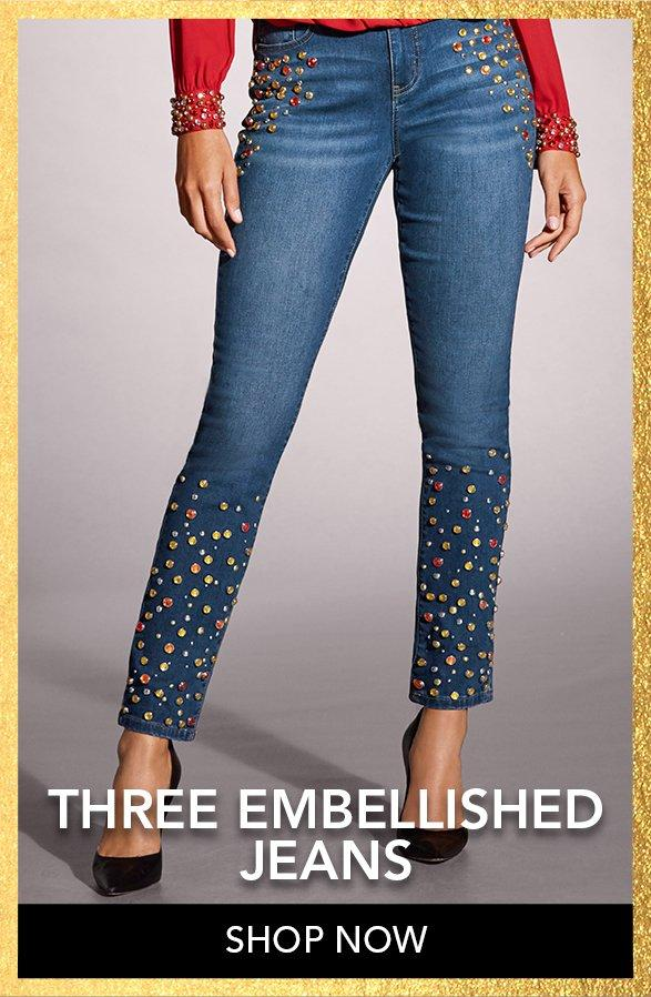 jewel embellished ankle jeans