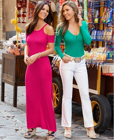 left model wearing a pink cold-shoulder, short-sleeve maxi dress and scarf wrap wedges. right model wearing a long-sleeve green covered button top, stone embellished belt, white jeans, and tan wedges.