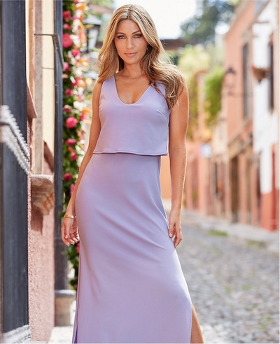 model wearing a lavender popover maxi dress.