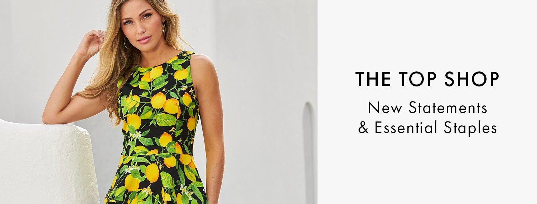 model wearing a black and lemon print sleeveless peplum top.
