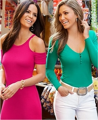 left model wearing pink cold-shoulder short sleeve maxi dress. right model wearing a green covered button long-sleeve top, stone embellished belt, and white jeans.