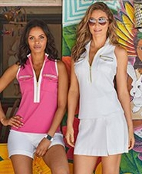left model wearing a pink sleeveless zippered top with white piping and white shorts. right model wearing a white sleeveless zippered top, a white skort, and sunglasses.