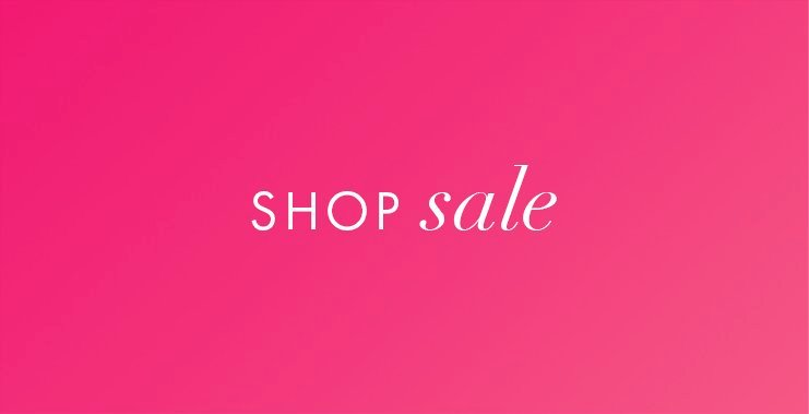 white text on pink background: shop sale