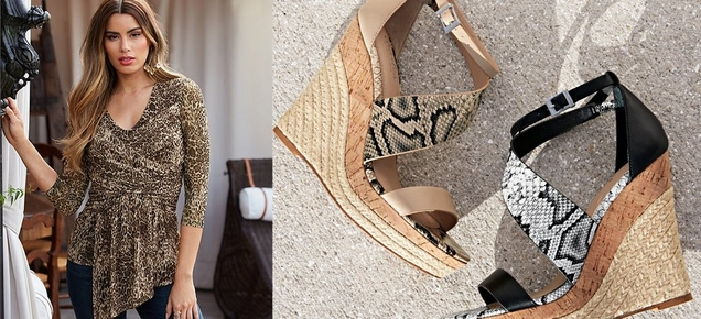 left model wearing a leopard ruched three-quarter sleeve top with a chiffon overlay. right panel shows tan and gray snake print wedges.