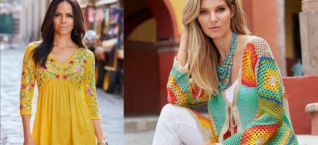 left model wearing a yellow babydoll three quarter sleeve top with floral embroidery. right model wearing a multicolored crochet duster, white tank top, white pants, and turquoise statement necklace.