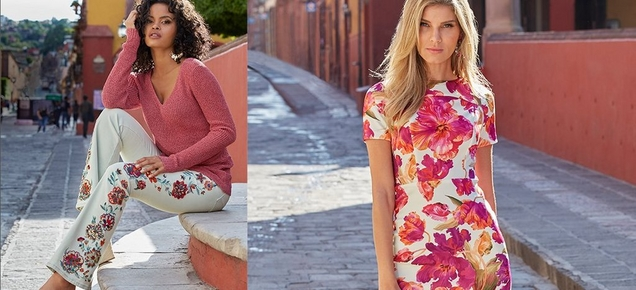 left model wearing a berry colored v-neck sweater and white flare jeans with floral embroidery. right model wearing a short sleeve pink floral dress.