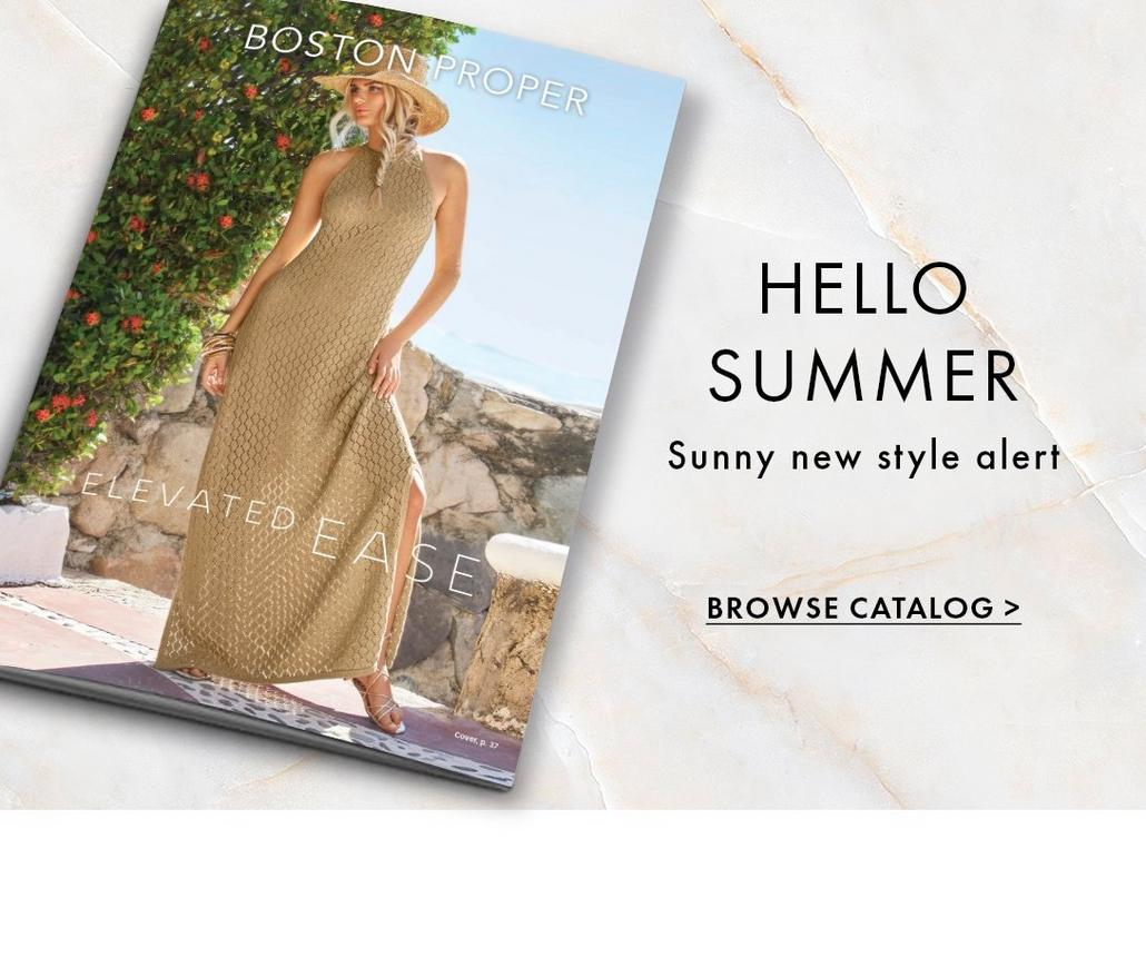 cover of our newest catalog with woman wearing a tan sleeveless maxi dress and straw hat.