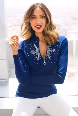 Snowflake zip sweater