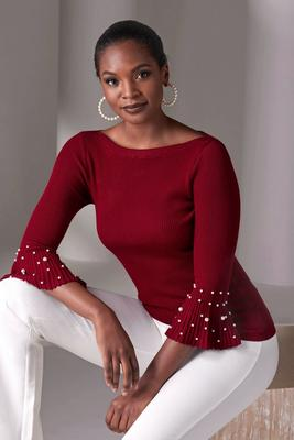 Display product reviews for Bateau-neck pearl sleeve sweater