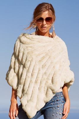 Plush faux-fur poncho