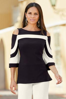 bEYOND TRAVEL™ COLORBLOCK COLD-SHOULDER FLARE-SLEEVE TOP