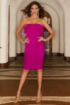Display product reviews for Ruffle strapless sheath dress