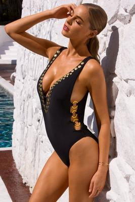 Plunging gold detail one-piece swimsuit