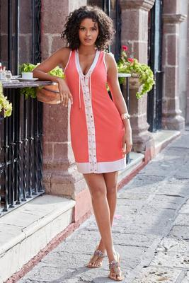 Lace-up tank dress