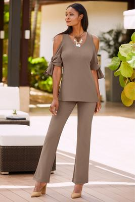 Beyond travel™ cold shoulder tie sleeve top