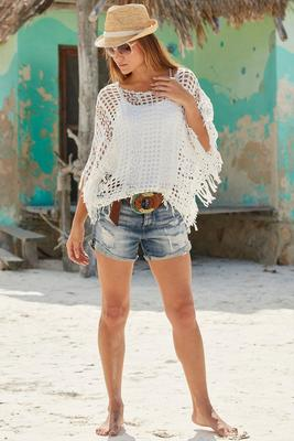 Distressed cuffed short